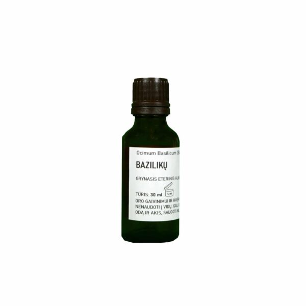 Sertifikuotas ekologiškas grynasis bazilikų eterinis aliejus 30 ml