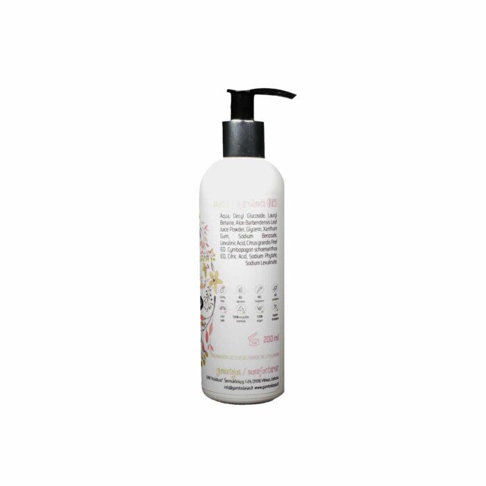 Sertifikuotas ekologiškas šampūnas Detoksikuojantis 200 ml 500 ml sudėtis