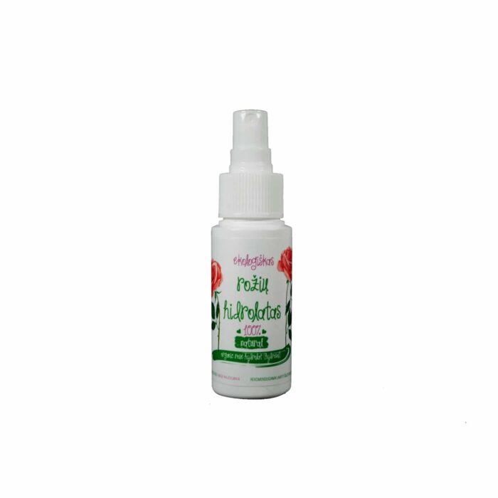 Grynas ekologiškas kvapiųjų rožių vanduo hidrolatas 50 ml su purkštuku